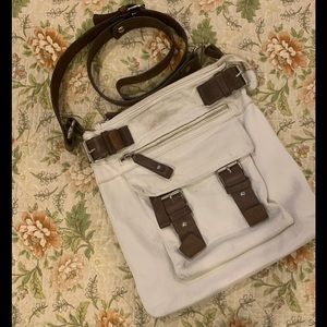 Tano white and brown leather crossbody